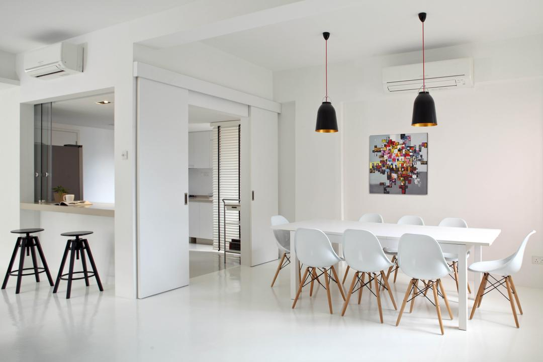 Highland Condominium, The Design Abode, Minimalistic, Dining Room, Condo, Pendant Light, Pendant Lighting, Hanging Lighting, Dining Table, Dining Room Chair, Chairs, Eames Chairs, White, Clean, Stools, Bar Stools, Painting, Chair, Furniture, Table, Indoors, Interior Design, Room