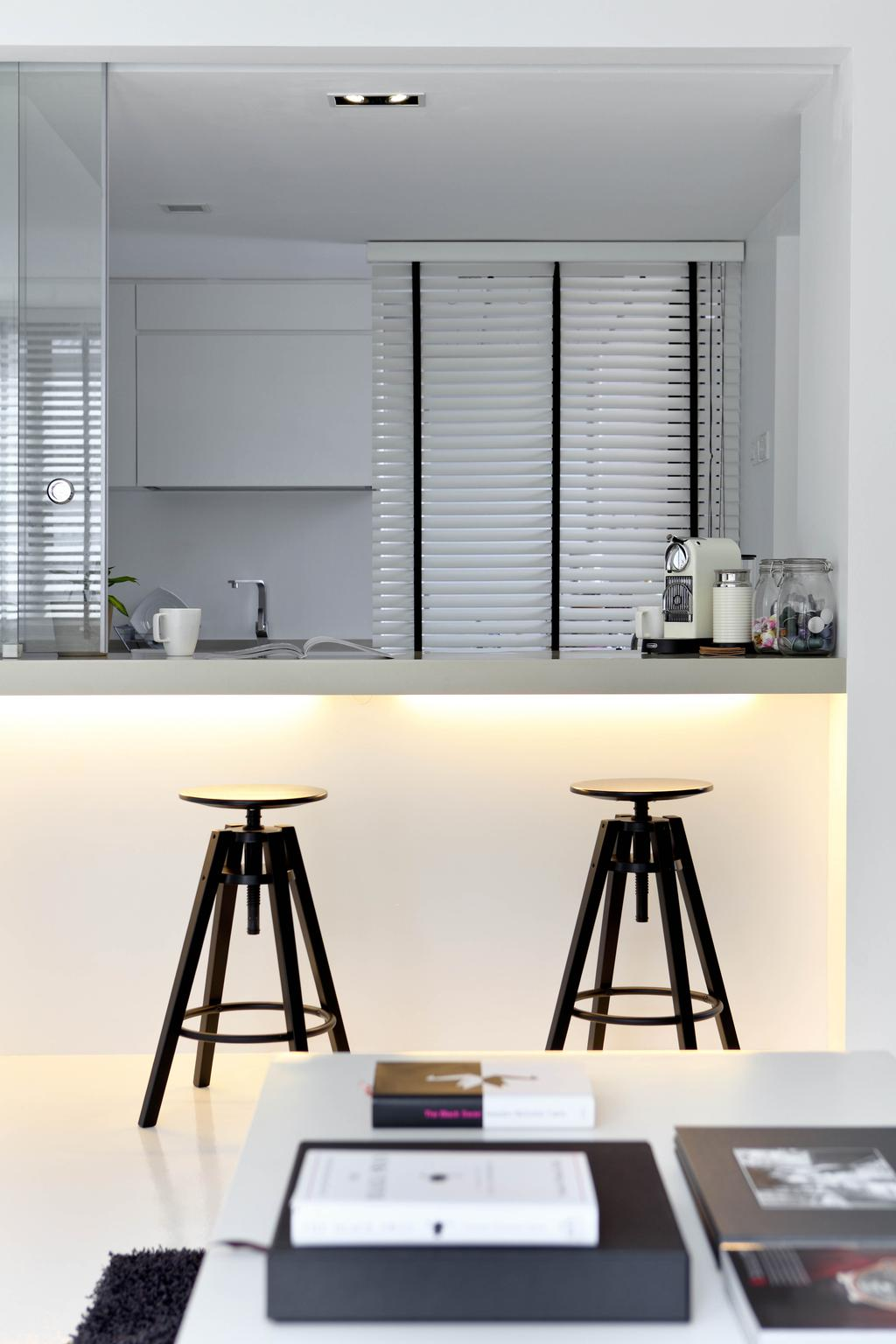 Minimalistic, Condo, Kitchen, Highland Condominium, Interior Designer, The Design Abode, Bar Stools, Stool, Concealed Lighting, Blinds, Tripod, Bar Stool, Furniture