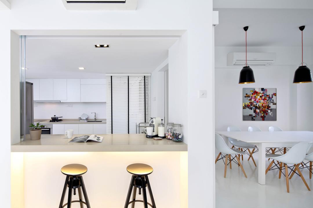 Highland Condominium, The Design Abode, Minimalistic, Kitchen, Condo, Countertop, Bar, Bar Countertop, Bar Stools, Stools, Bar Stool, Furniture, Dining Table, Table, Dining Room, Indoors, Interior Design, Room