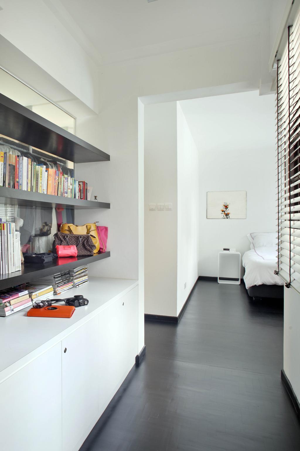 Minimalist, Condo, Bedroom, Highland Condominium, Interior Designer, The Design Abode, Bookshelf, Books, Shelves, Shelving, Cabinet, Bookcase, Furniture