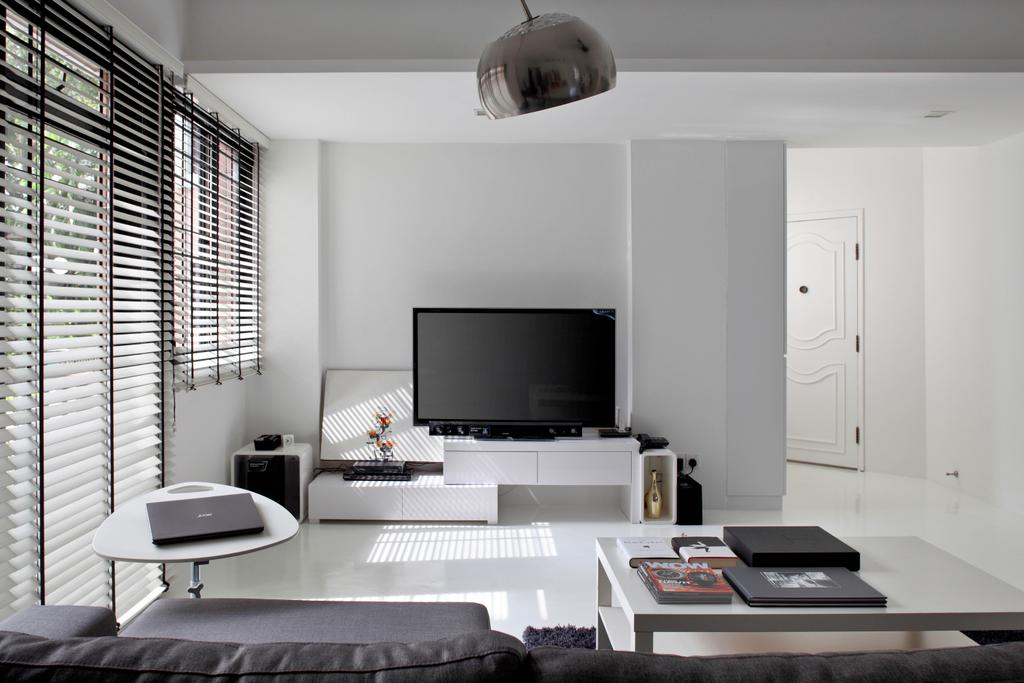 Minimalistic, Condo, Living Room, Highland Condominium, Interior Designer, The Design Abode, Tv, Tv Console, Tv Cabinet, White, Blinds, Coffee Table, Clean, Indoors, Room
