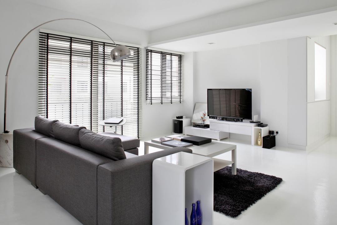 Highland Condominium, The Design Abode, Minimalistic, Living Room, Condo, Sofa, Couch, Stand Lamp, Standing Lamp, Carpet, Coffee Table, Tv, Tv Console, Tv Cabinet, Blinds, White, Furniture, Indoors, Room