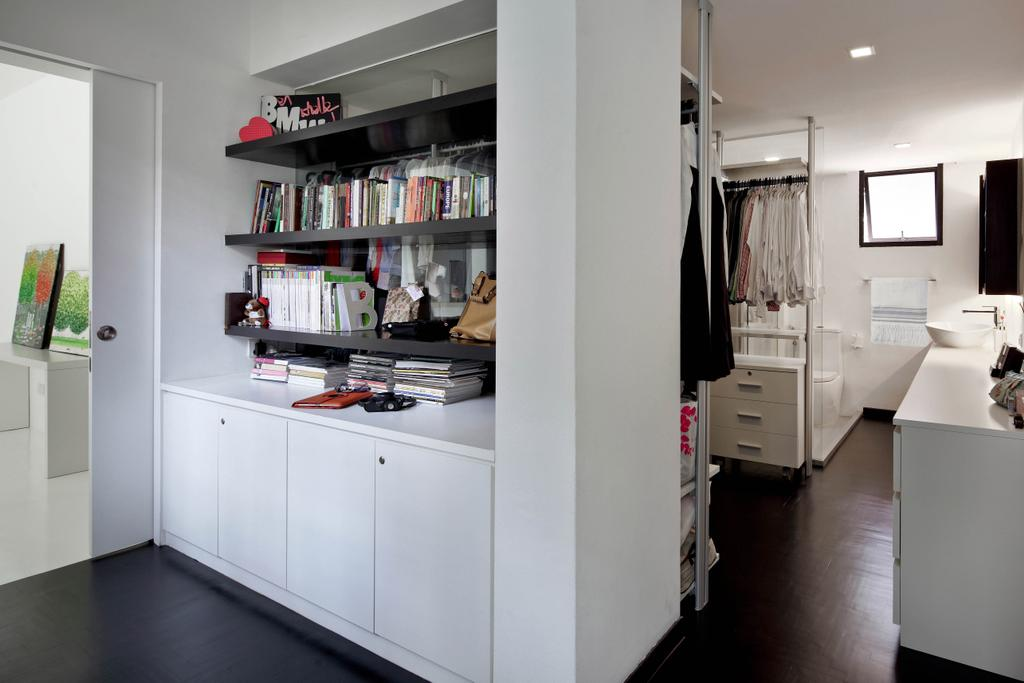 Minimalist, Condo, Bedroom, Highland Condominium, Interior Designer, The Design Abode, Cabinet, Shelves, Bookshelf, Shelving, Closet, Furniture, Wardrobe