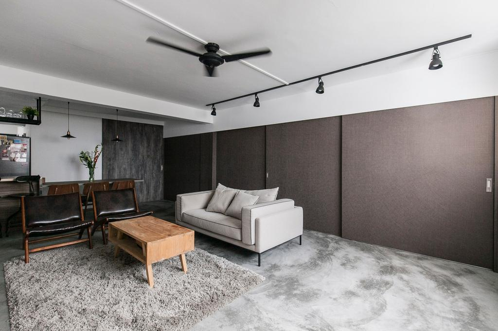 Industrial, HDB, Living Room, Marine Terrace, Interior Designer, The Design Abode, Cement Screed, Concrete, Sofa, Couch, Fabric Sofa, Coffee Table, Carpet, Track Lights, Track Lightings, Chairs, Grey, Gray, Building, Furniture, Housing, Indoors, Loft, Chair, Dining Room, Interior Design, Room