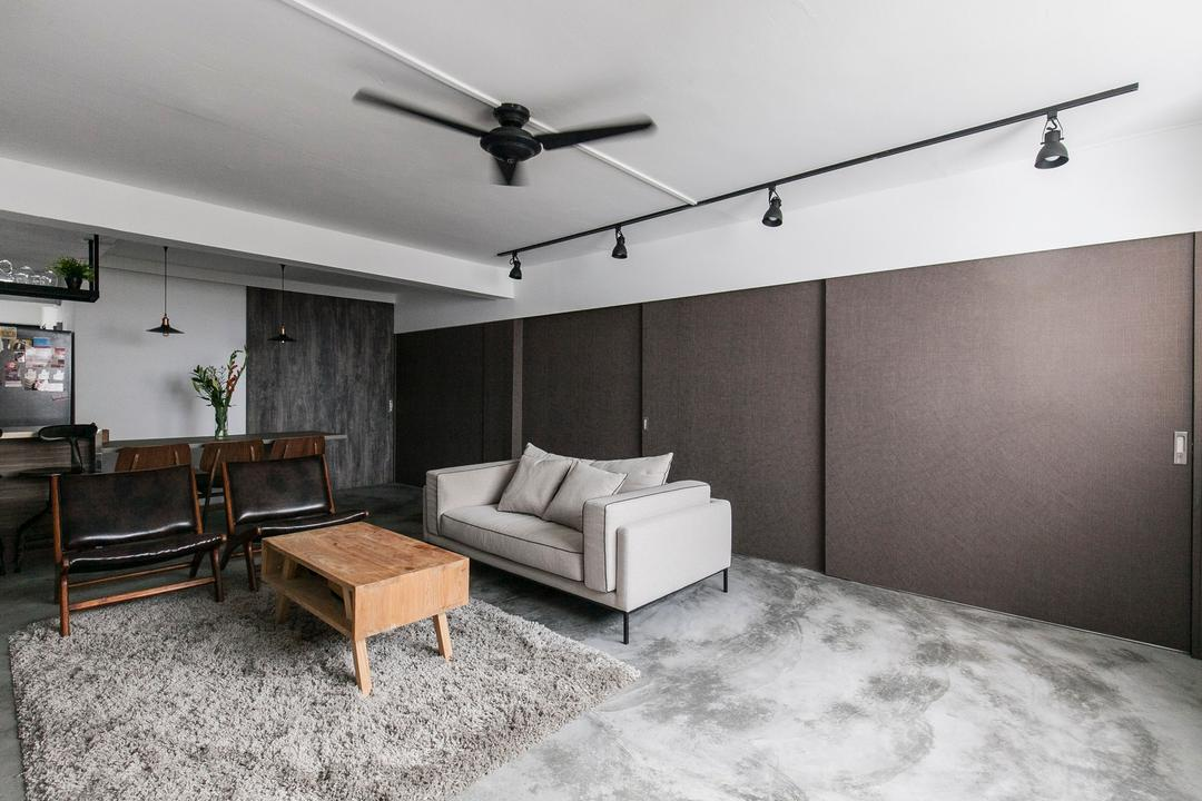 Marine Terrace, The Design Abode, Industrial, Living Room, HDB, Cement Screed, Concrete, Sofa, Couch, Fabric Sofa, Coffee Table, Carpet, Track Lights, Track Lightings, Chairs, Grey, Gray, Building, Furniture, Housing, Indoors, Loft, Chair, Dining Room, Interior Design, Room