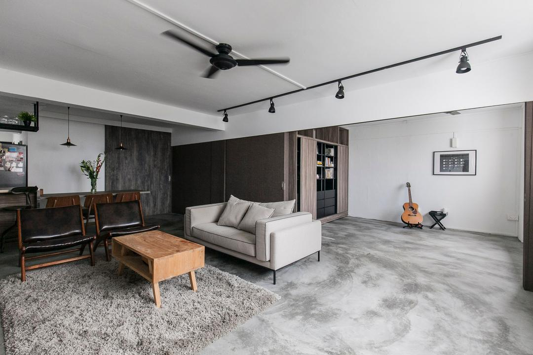 Marine Terrace, The Design Abode, Industrial, Living Room, HDB, Hidden, Track Lights, Track Lightings, Partition, Ceiling Fan, Grey, Gray, Chill, Carpet, Coffee Table, Sofa, Couch, Fabric Sofa, Chairs, Cement Screed, Chair, Furniture