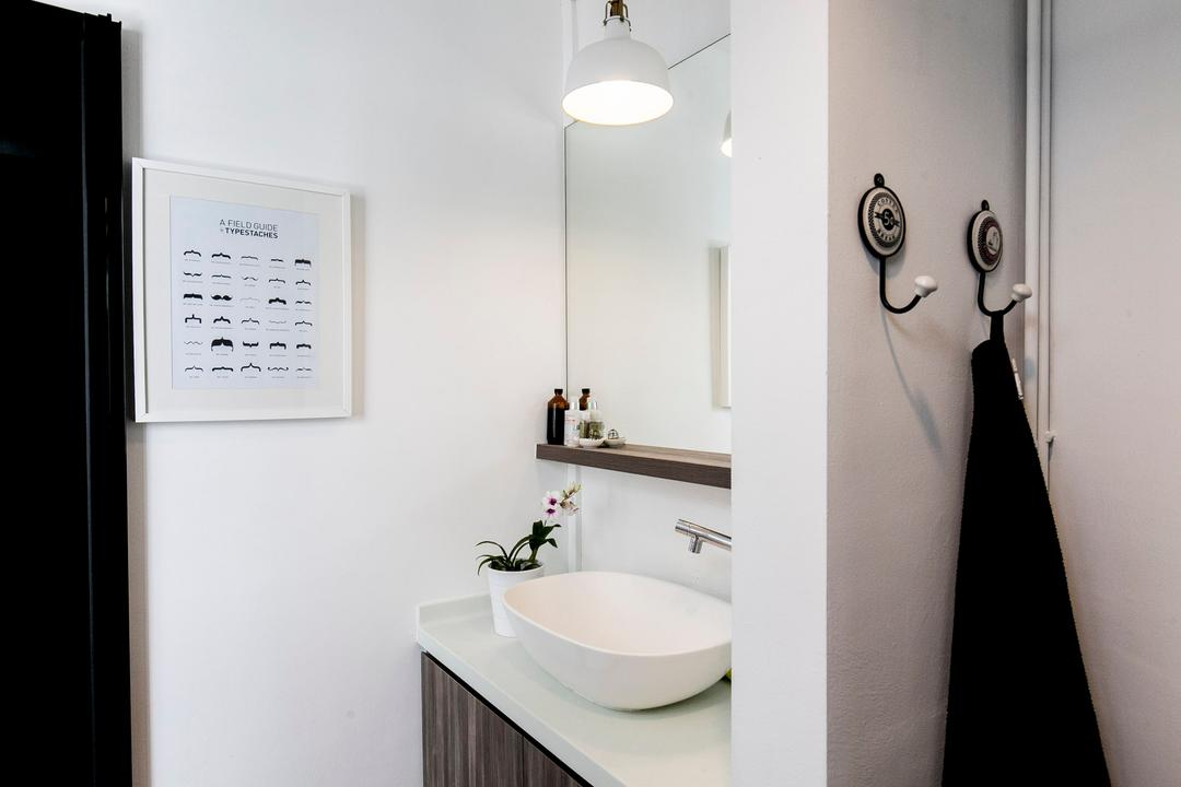 Marine Terrace, The Design Abode, Industrial, Bathroom, HDB, Bathroom Vanity, Hook, Towel Hook, Mirror, Sink, Bathroom Sink, Pendant Lamp, White, Indoors, Interior Design, Room, Arm