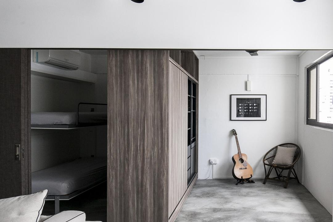 Marine Terrace, The Design Abode, Industrial, Living Room, HDB, Hidden, Partition, Bed, Track Lights, Track Lightings, Cement Screed, Guitar, Music, Chair, Pillow, Cushion, Wall Art, Wall Decor, Painting, Bedroom, Indoors, Interior Design, Room