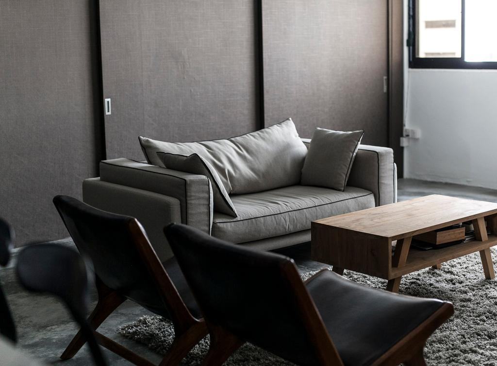 Industrial, HDB, Living Room, Marine Terrace, Interior Designer, The Design Abode, Sofa, Couch, Fabric Sofa, Coffee Table, Carpet, Chairs, Grey, Gray, Chic, Chair, Furniture