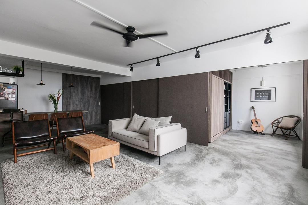 Marine Terrace, The Design Abode, Industrial, Living Room, HDB, Hidden, Partition, Track Lights, Track Lightings, Chairs, Coffee Table, Sofa, Couch, Grey, Gray, Ceiling Fan, Furniture, Dining Room, Indoors, Interior Design, Room