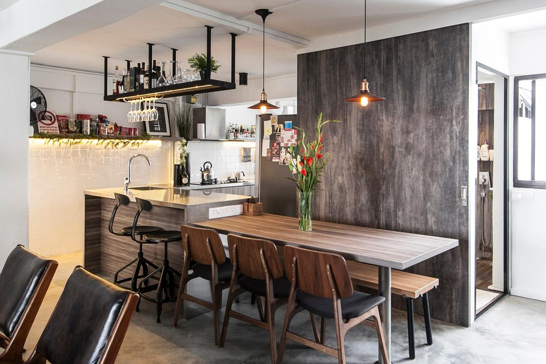 Marine Terrace, The Design Abode, Industrial, Dining Room, HDB, Chairs, Dining Room Chairs, Pendant Light, Pendant Lighting, Hanging Rack, Grey, Gray, Chair, Furniture, Indoors, Interior Design, Room, Dining Table, Table, Couch