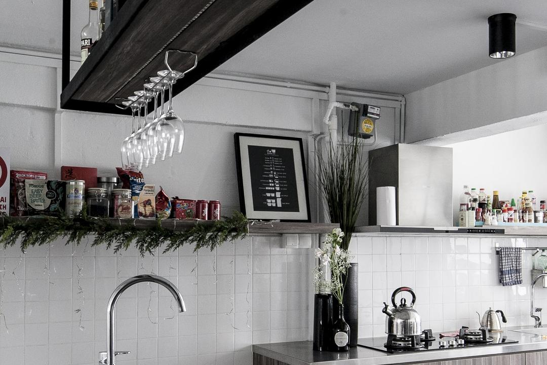 Marine Terrace, The Design Abode, Industrial, Kitchen, HDB, Kitchen Countertop, Countertop, Metal, Hanging Rack, Kitchen Cabinet, Cabinetry, Home Decor, Grey, Gray, Flora, Jar, Plant, Potted Plant, Pottery, Vase, Building, Housing, Indoors, Loft, Plaque