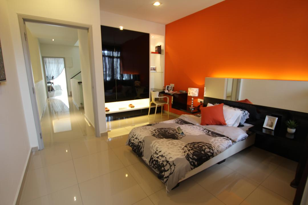 Taman Desa Tebrau, Morse Interior Design, Contemporary, Bedroom, Landed, Orange, Bright Colours, Bed, Pillow, Cushion, Headboard, Chair, Shelves, Shelving, Cabinet, Furniture, Indoors, Interior Design, Room, Apartment, Building, Housing