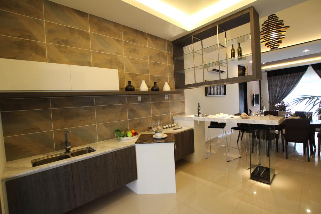 Contemporary, Landed, Kitchen, Taman Desa Tebrau, Interior Designer, Morse Interior Design, Tiles, Concealed Lighting, Cove Lighting, Kitchen Cabinet, Cabinetry, Kitchen Sink, Sink, Dining Table, Furniture, Table, Grand Piano, Leisure Activities, Music, Musical Instrument, Piano, Indoors, Interior Design, Room, Restaurant