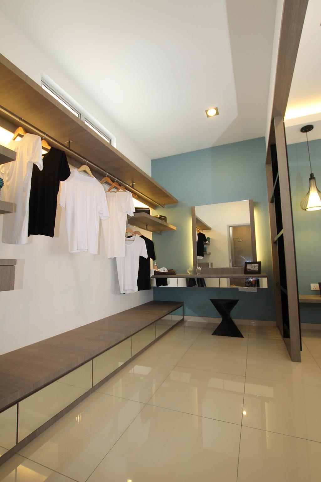 Contemporary, Landed, Bedroom, Taman Desa Tebrau, Interior Designer, Morse Interior Design, Wardrobe, Clothes, Clothing, Clothes Rack, Clothes Hanger, Indoors, Interior Design, Jar, Pottery, Vase