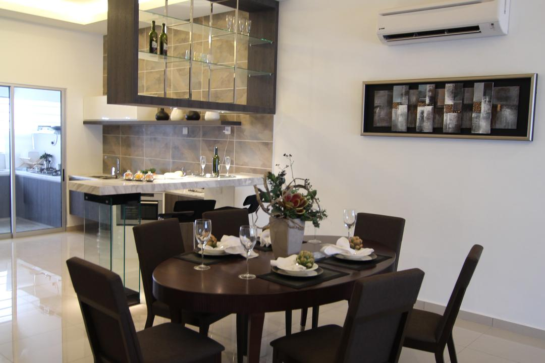 Taman Desa Tebrau, Morse Interior Design, Contemporary, Dining Room, Landed, Dining Table, Dining Room Chairs, Chairs, Pendant Lighting, Pendant Lamp, Painting, Aircon, Tableware, Flora, Jar, Plant, Potted Plant, Pottery, Vase, Indoors, Interior Design, Room, Furniture, Table, Chair, Restaurant