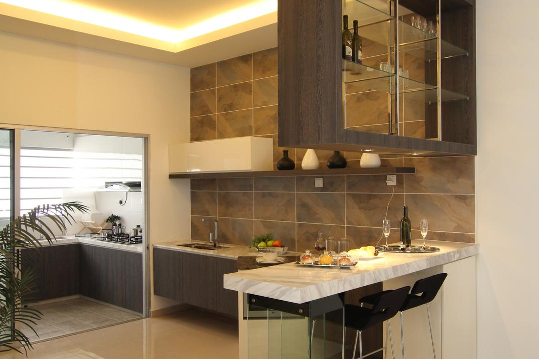Taman Desa Tebrau, Morse Interior Design, Contemporary, Kitchen, Landed, Kitchen Countertop, Countertop, Bar Stools, Stool, Hanging Rack, Hanging Shelves, Cove Lighting, Concealed Lighting, Tiles, Indoors, Interior Design, Room, Curtain, Home Decor, Window, Window Shade