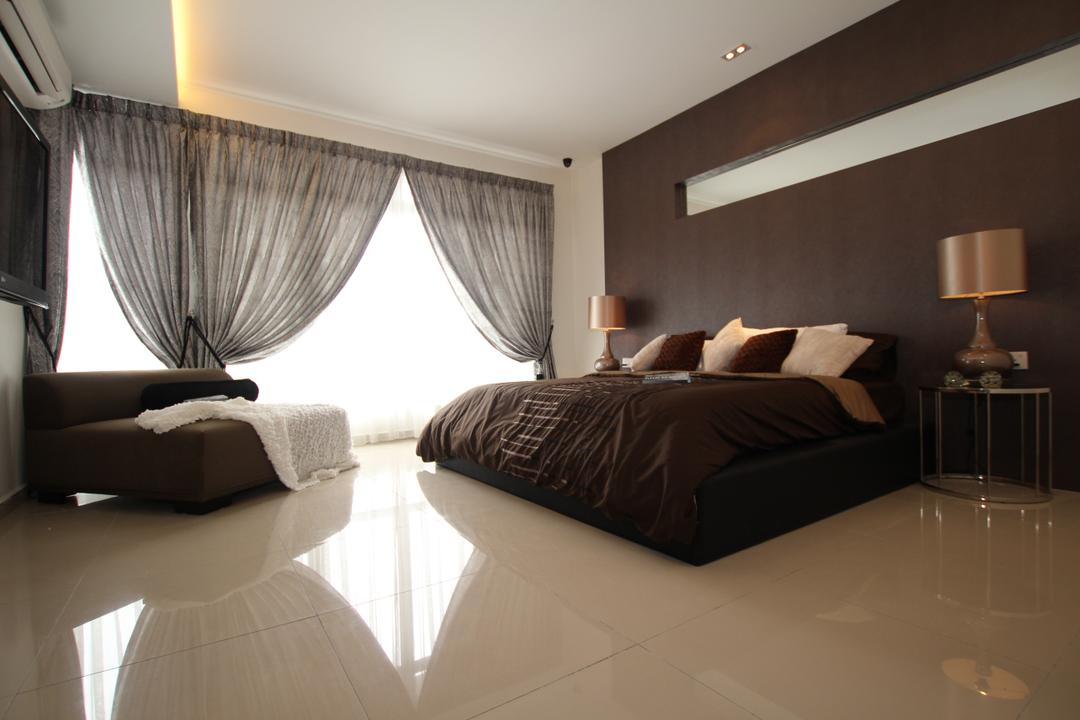 Taman Desa Tebrau, Morse Interior Design, Contemporary, Bedroom, Landed, Bed, Pillow, Cushion, Table Lamp, Bedside Table, Couch, Throw, Curtains, Furniture, Indoors, Interior Design, Room
