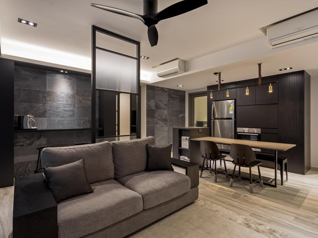 Modern, Condo, Dining Room, Bellewaters, Interior Designer, Habit, Contemporary, Couch, Furniture, HDB, Building, Housing, Indoors, Loft, Dining Table, Table