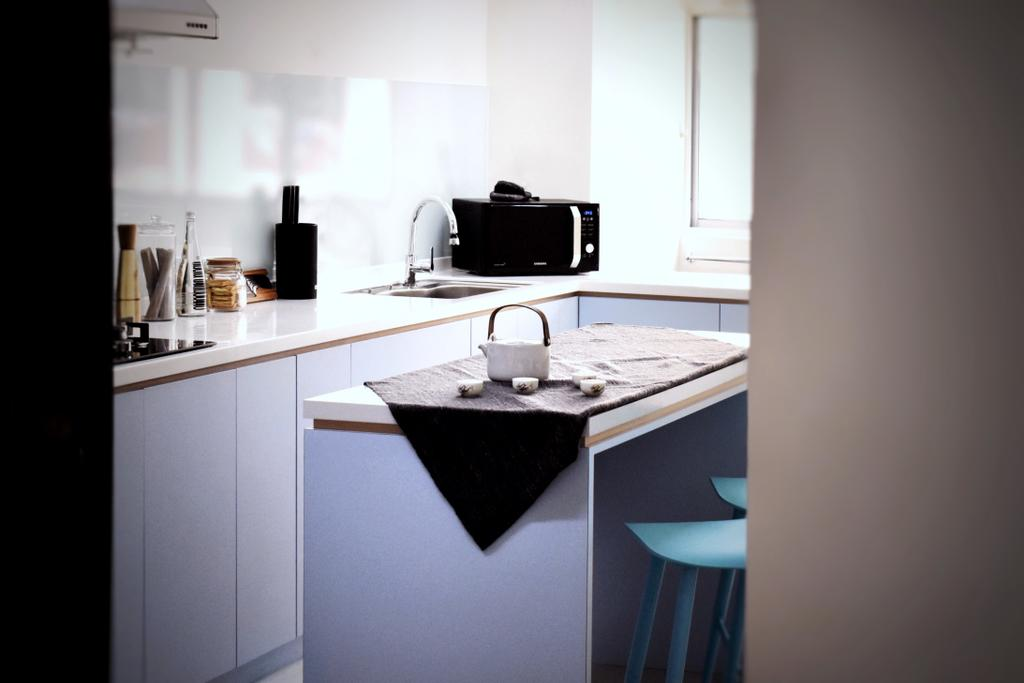 Contemporary, HDB, Kitchen, Ang Mo Kio, Interior Designer, Happe Design Atelier, Sink