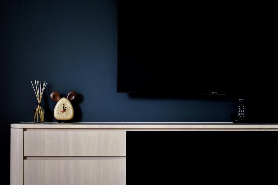 Ang Mo Kio, Happe Design Atelier, Contemporary, Living Room, HDB, Clock, Furniture, Sideboard
