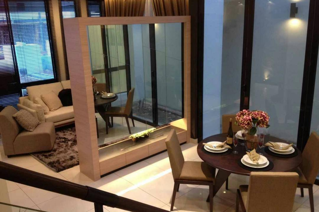 Seri Austin Terrace, Morse Interior Design, Contemporary, Dining Room, Landed, Dining Table, Dining Room Chairs, Chairs, Tableware, View, Mirror, Partition, Sofa, Couch, Carpet, Flora, Jar, Plant, Potted Plant, Pottery, Vase, Furniture, Table, Chair, Indoors, Interior Design, Room