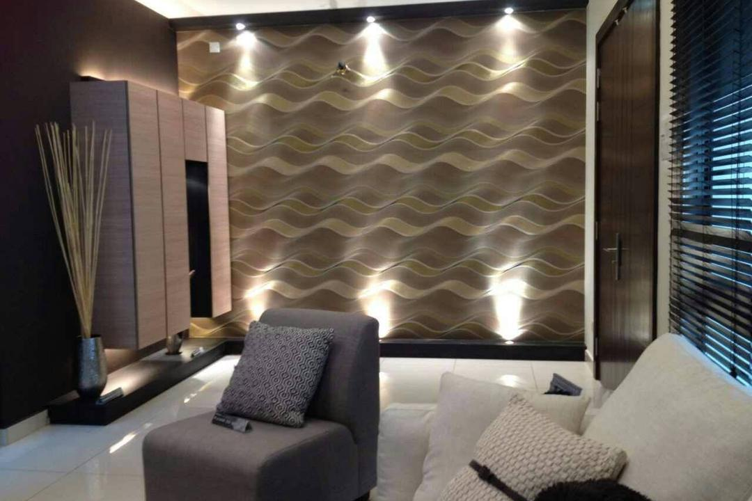 Seri Austin Terrace, Morse Interior Design, Contemporary, Living Room, Landed, Wallpaper, Sofa, Couch, Recessed Lighting, Cushions, Pillows, Chair, Furniture