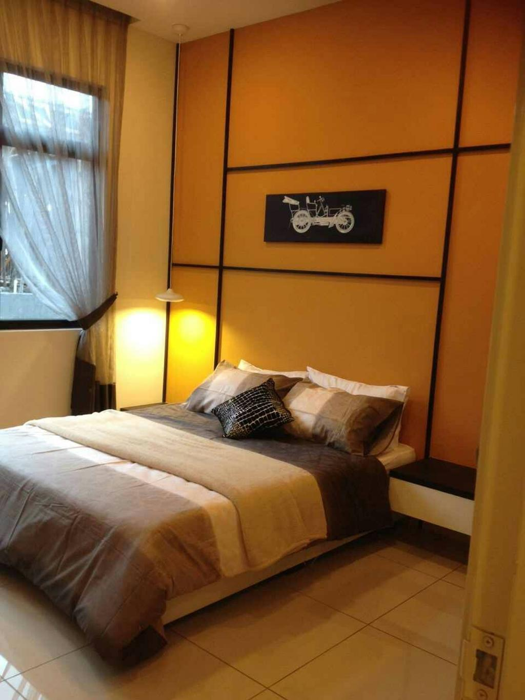 Contemporary, Landed, Bedroom, Seri Austin Terrace, Interior Designer, Morse Interior Design, Bed, Feature Wall, Painting, Wall Art, Bedside Table, Orange, Curtain, Furniture