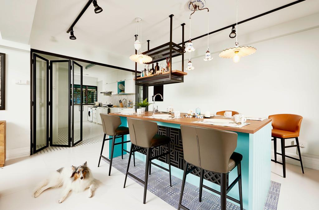 Contemporary, HDB, Dining Room, Pasir Ris Street 12, Interior Designer, Versaform, Light Fixture, Indoors, Interior Design, Room, Chair, Furniture, Dining Table, Table