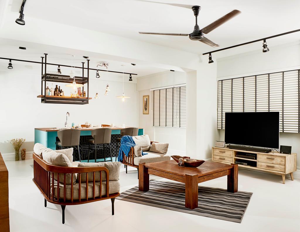 Contemporary, HDB, Living Room, Pasir Ris Street 12, Interior Designer, Versaform, Coffee Table, Furniture, Table, Sink, Chair, Electronics, Entertainment Center, Home Theater