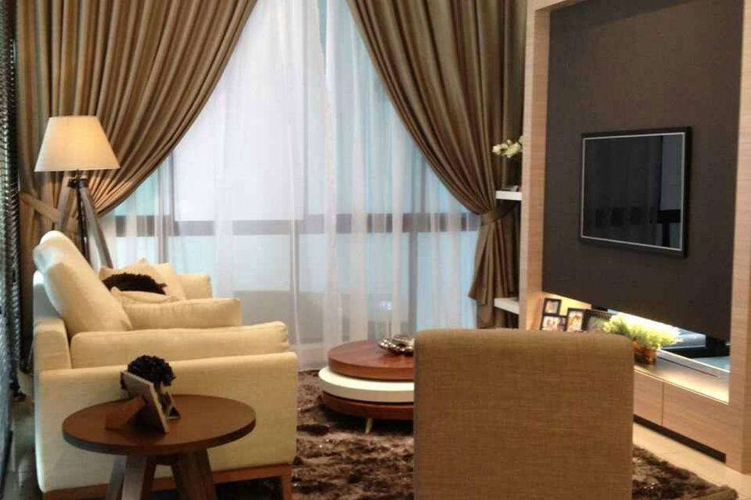 Seri Austin Terrace, Morse Interior Design, Contemporary, Living Room, Landed, Curtain, Stand Lamp, Standing Lamp, Feature Wall, Tv, Tv Console, Tv Cabinet, Sofa, Couch, Coffee Table, Concealed Lighting, Cove Lighting, Carpet, Downlight, Furniture, Chair, Indoors, Room, Interior Design