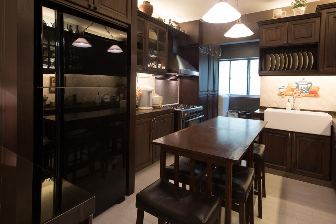 Woodlands Street 41 (Block 418), Fatema Design Studio, Traditional, Kitchen, HDB, Dish Rack, Fridge, Country Style, Hood, Stove, Tiles, Dining Room, Indoors, Interior Design, Room, Dining Table, Furniture, Table, Chair, Bathroom