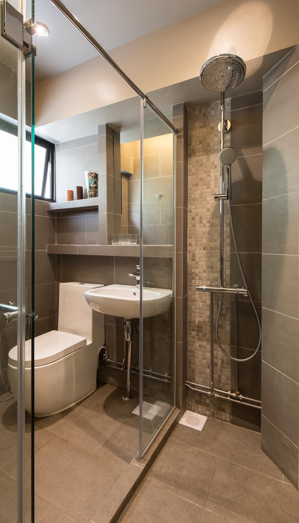 Traditional, HDB, Bathroom, Woodlands Street 41 (Block 418), Interior Designer, Fatema Design Studio, Shower, Shower Screen, Sink, Toilet Bowl, Indoors, Interior Design, Room