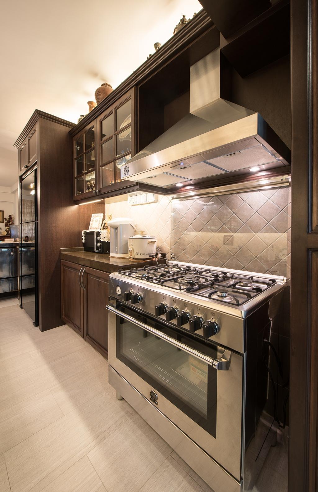 Traditional, HDB, Kitchen, Woodlands Street 41 (Block 418), Interior Designer, Fatema Design Studio, Tiles, Stove, Hood, Fridge, Cabinets, Appliance, Electrical Device, Oven, Bathroom, Indoors, Interior Design, Room