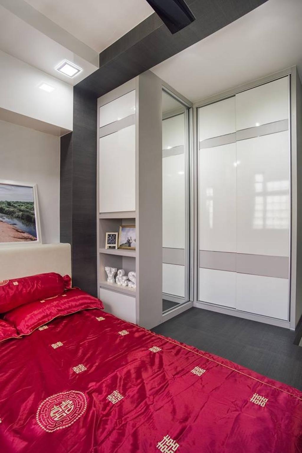Modern, HDB, Bedroom, Woodlands Drive 70, Interior Designer, Boewe Design, Velvet, Cabinet, China Cabinet, Furniture, Door, Sliding Door, Indoors, Interior Design, Room