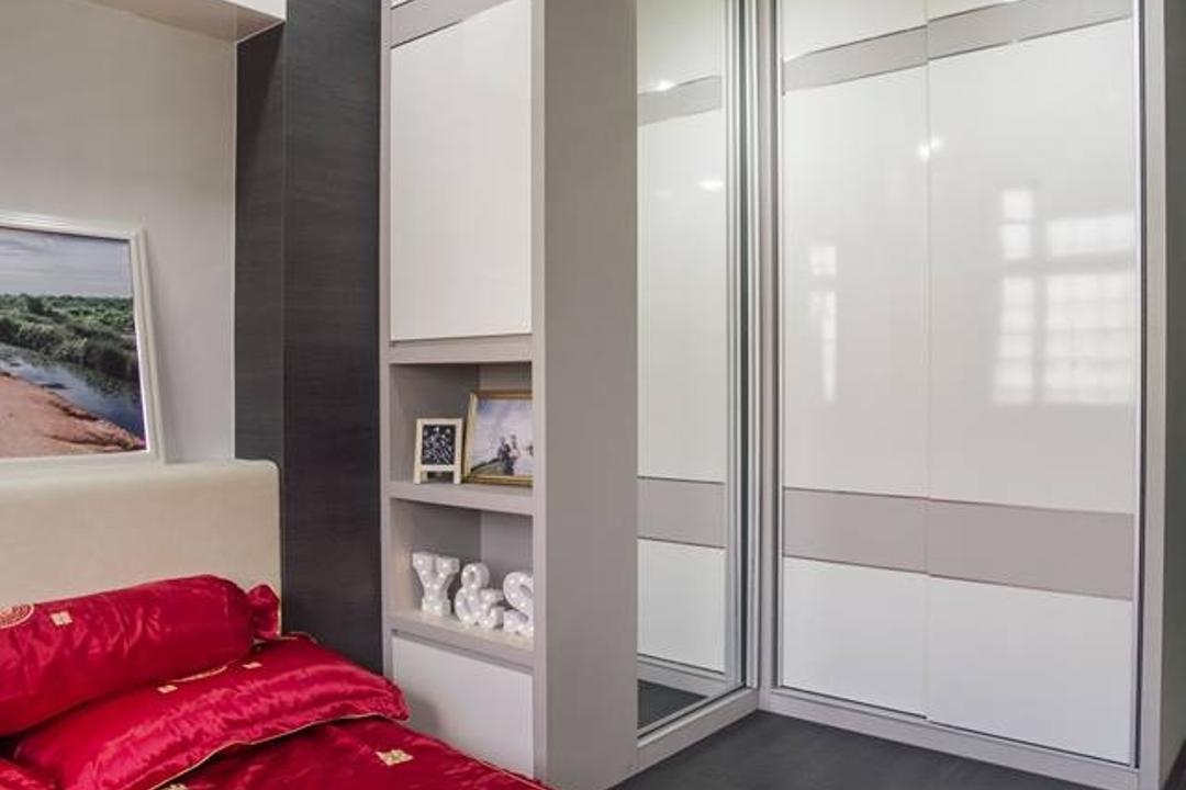 Woodlands Drive 70, Boewe Design, Modern, Bedroom, HDB, Velvet, Cabinet, China Cabinet, Furniture, Door, Sliding Door, Indoors, Interior Design, Room