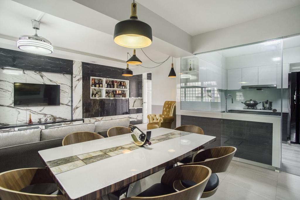 Modern, HDB, Dining Room, Woodlands Drive 70, Interior Designer, Boewe Design, Light Fixture, Couch, Furniture, Indoors, Interior Design, Room, Plywood, Wood
