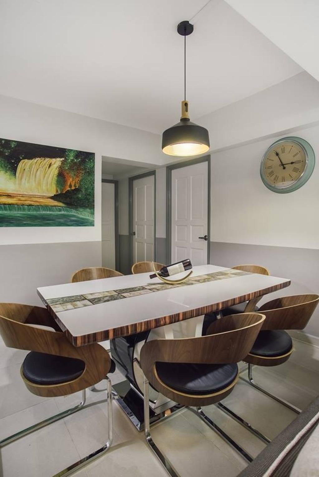Modern, HDB, Dining Room, Woodlands Drive 70, Interior Designer, Boewe Design, Dining Table, Furniture, Table, Indoors, Room
