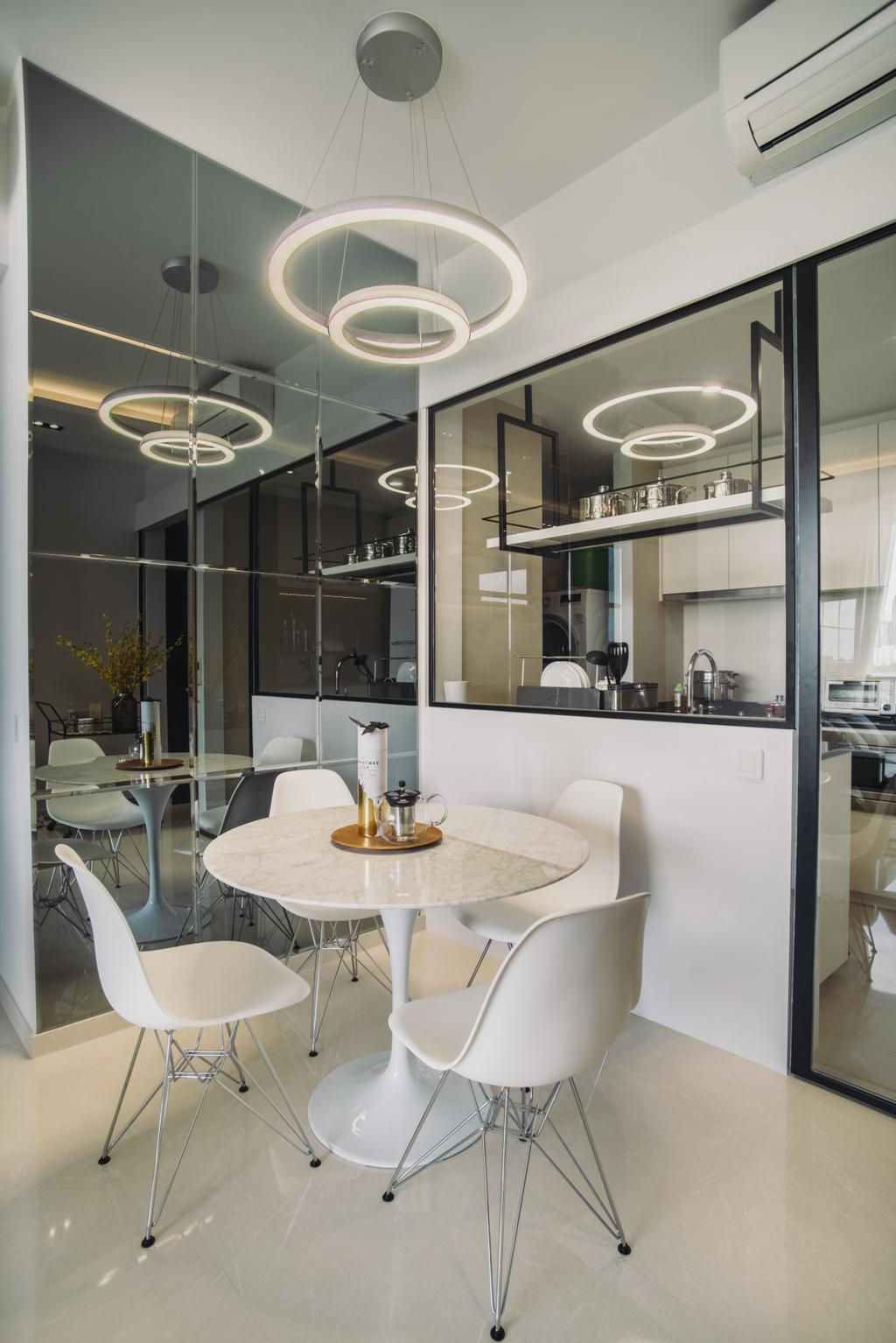 Contemporary, Condo, Dining Room, The Crest, Interior Designer, Boewe Design, Flora, Jar, Plant, Potted Plant, Pottery, Vase, Indoors, Interior Design, Room, Sink, Dining Table, Furniture, Table, Chair
