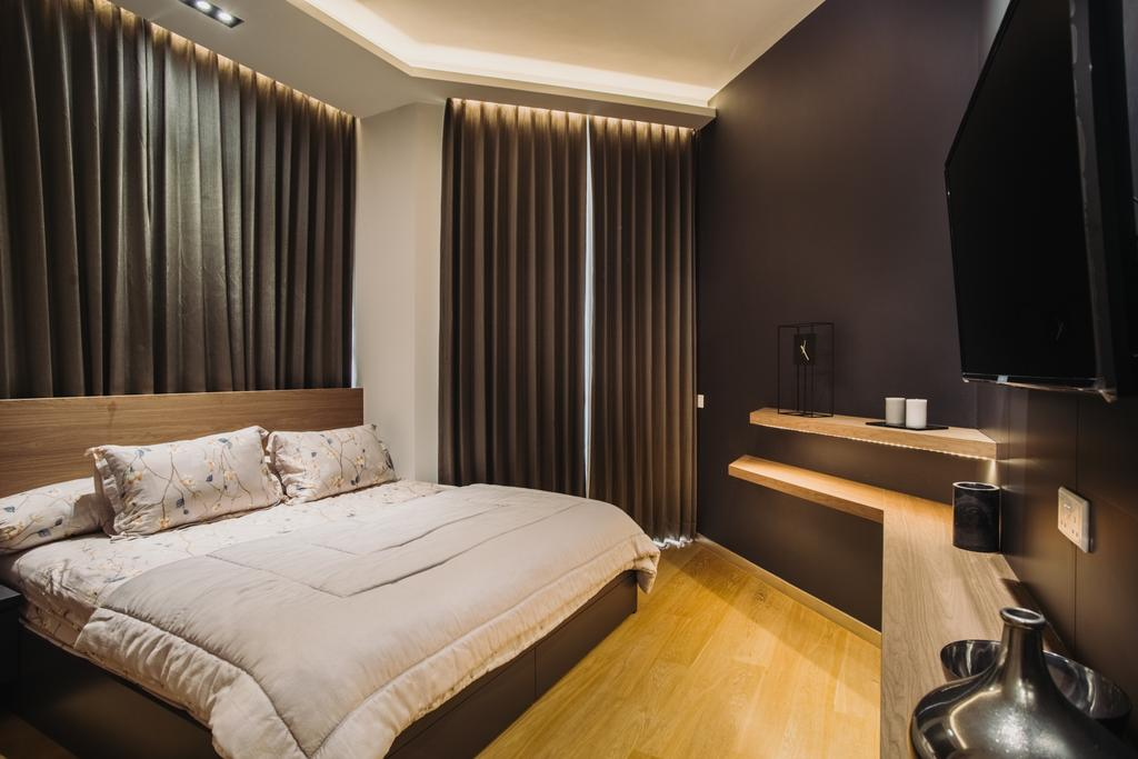 Contemporary, Condo, Bedroom, The Crest, Interior Designer, Boewe Design, Indoors, Room, Bathroom, Interior Design, Bed, Furniture, Electronics, Lcd Screen, Monitor, Screen