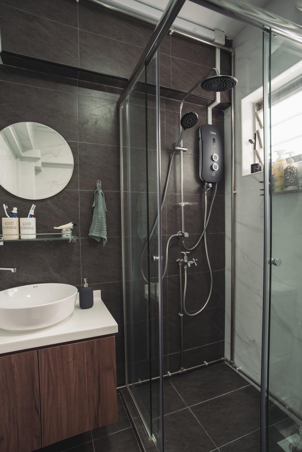Scandinavian, HDB, Senja Road, Interior Designer, Boewe Design, Bathroom, Indoors, Interior Design, Room, Shower