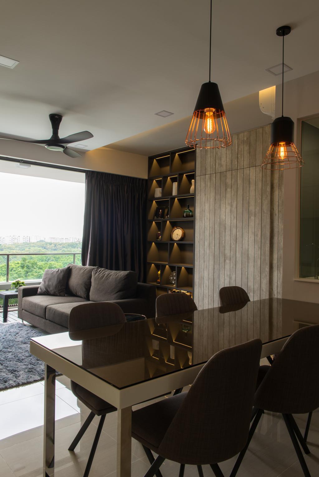 Modern, Condo, Dining Room, D'Nest, Interior Designer, Dyel Design, Couch, Furniture, Chair, Bookcase, Luggage, Suitcase, Indoors, Interior Design