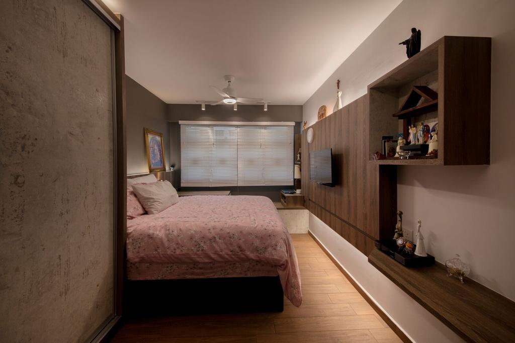 Modern, HDB, Yishun Ring Road, Interior Designer, Starry Homestead, Corridor, Bedroom, Indoors, Interior Design, Room, Shelf
