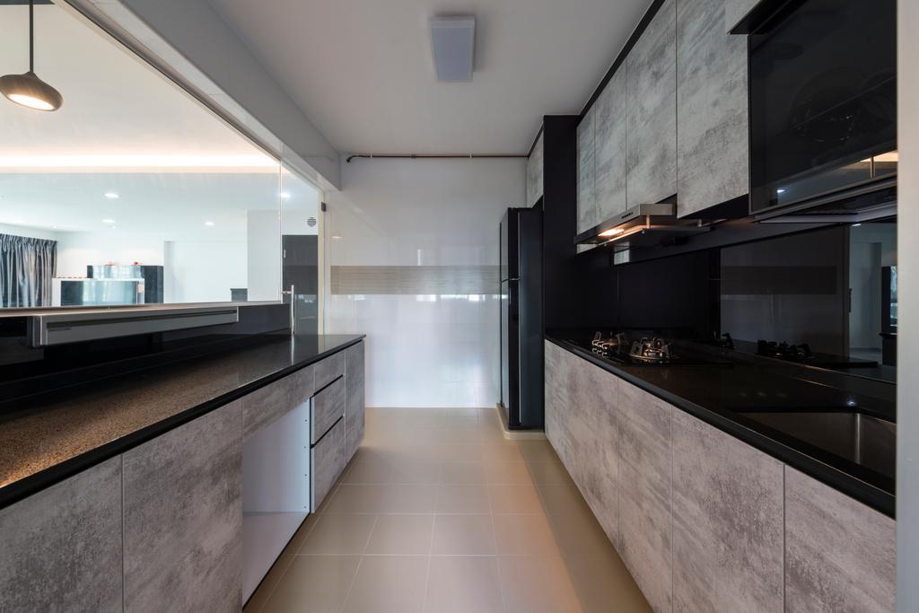 Modern, HDB, Kitchen, Upper Serangoon Crescent, Interior Designer, Fifth Avenue Interior, Building, Housing, Indoors, Loft