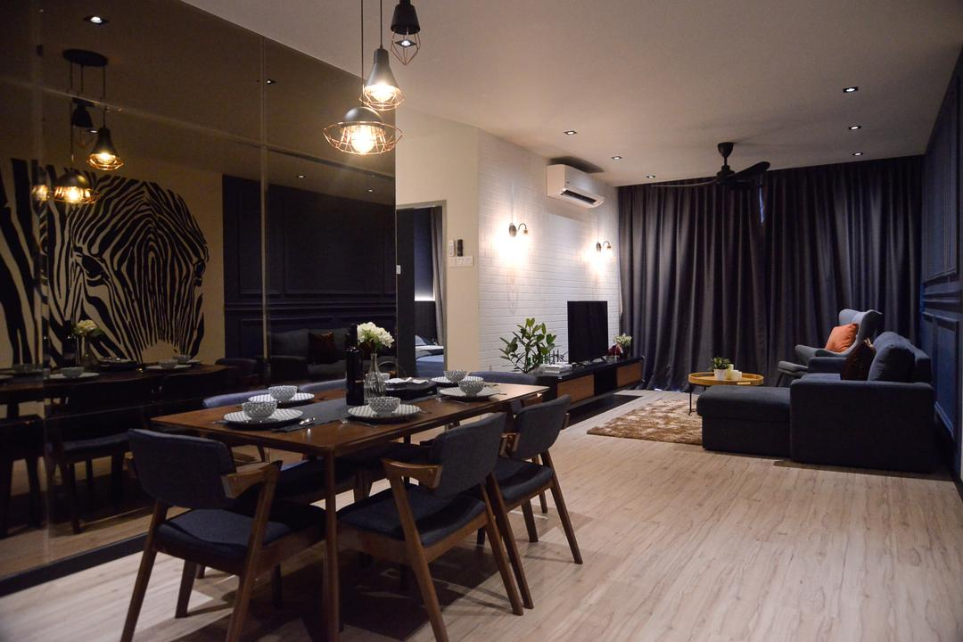Aurora Residence, Puchong, RK Interior Studio, Modern, Condo, Couch, Furniture, Dining Room, Indoors, Interior Design, Room, Asleep, Dining Table, Table