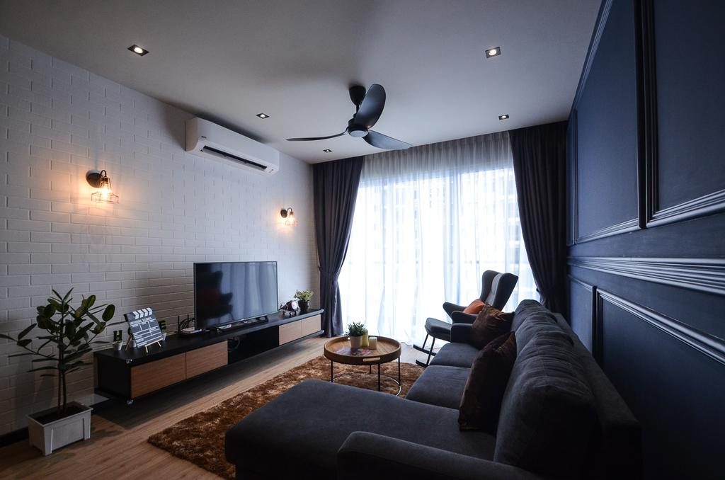 Modern, Condo, Aurora Residence, Puchong, Interior Designer, RK Interior Studio, Flora, Jar, Plant, Potted Plant, Pottery, Vase, Couch, Furniture, Electronics, Monitor, Screen, Tv, Television