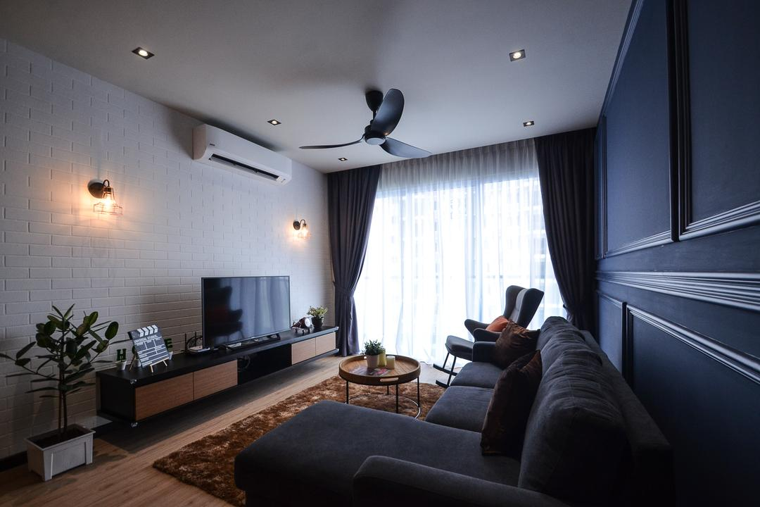 Aurora Residence, Puchong, RK Interior Studio, Modern, Condo, Flora, Jar, Plant, Potted Plant, Pottery, Vase, Couch, Furniture, Electronics, Monitor, Screen, Tv, Television
