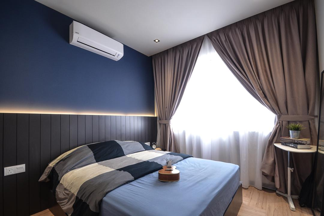 Aurora Residence, Puchong, RK Interior Studio, Modern, Condo, Bed, Furniture, Indoors, Room, Bedroom, Interior Design
