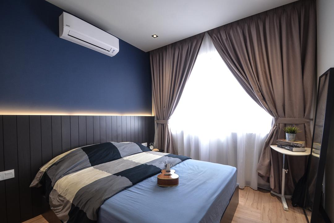 Aurora Residence, Puchong, RK Interior Studio, Modern, Condo, Indoors, Room, Bed, Furniture, Bedroom, Interior Design