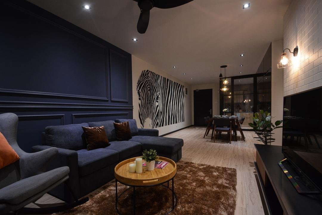 Aurora Residence, Puchong, RK Interior Studio, Modern, Condo, Couch, Furniture, Indoors, Room, Interior Design, Coffee Table, Table